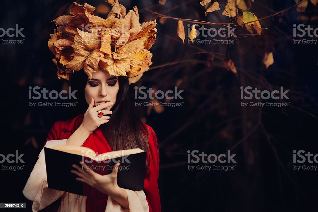 Woman With Autumn Leaves Crown Reading a Book stock photo