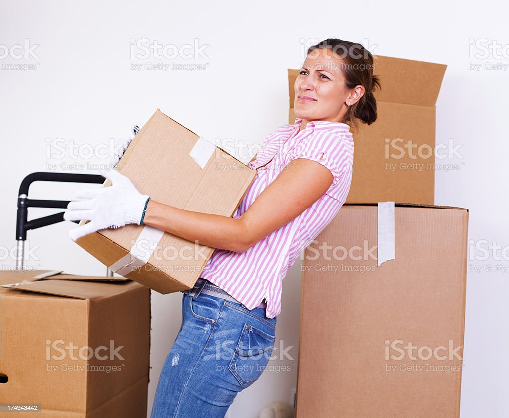 Woman with back pain royalty-free stock photo