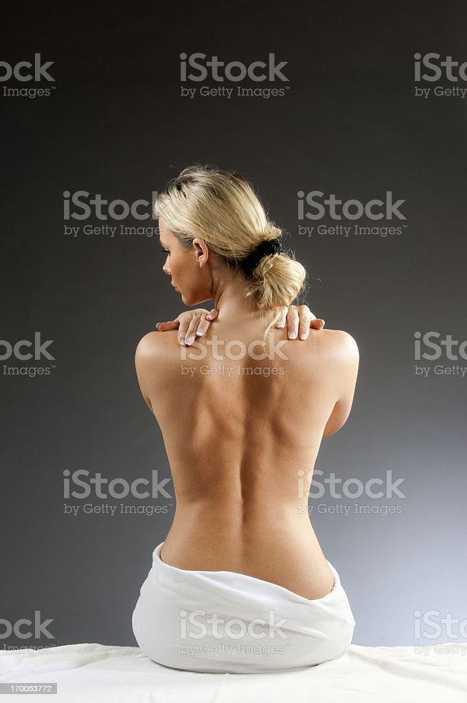 woman with backache royalty-free stock photo