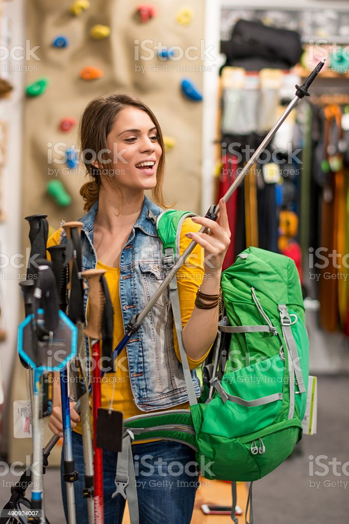 Woman with backpack stock photo