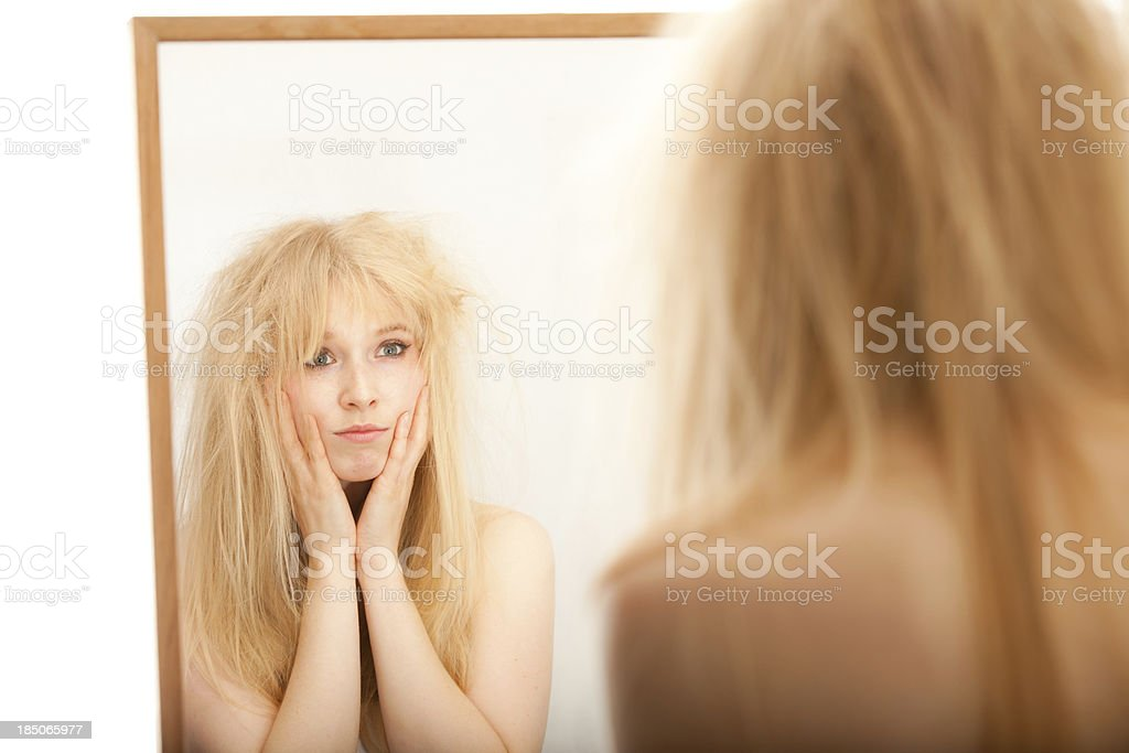 Woman with Bad Hair royalty-free stock photo