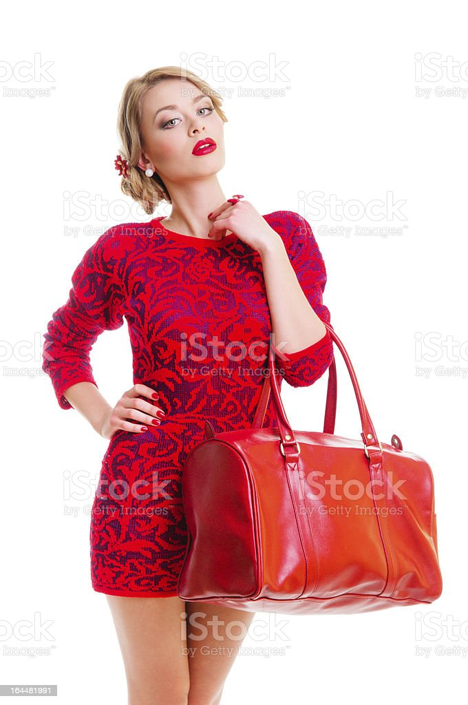 woman with bag royalty-free stock photo