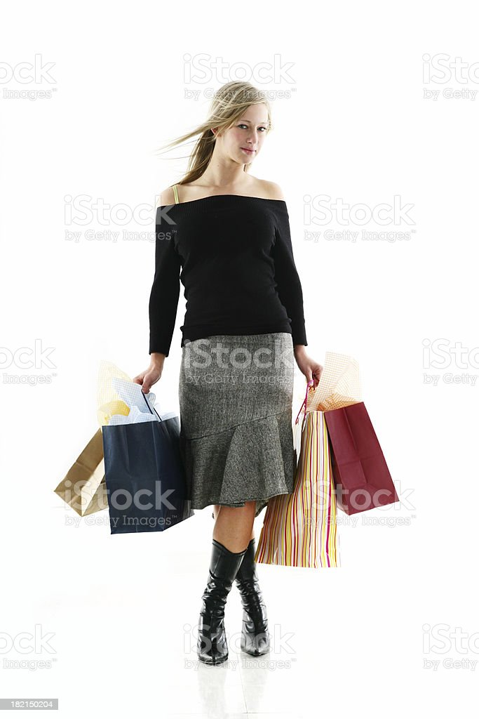 Woman with bags royalty-free stock photo