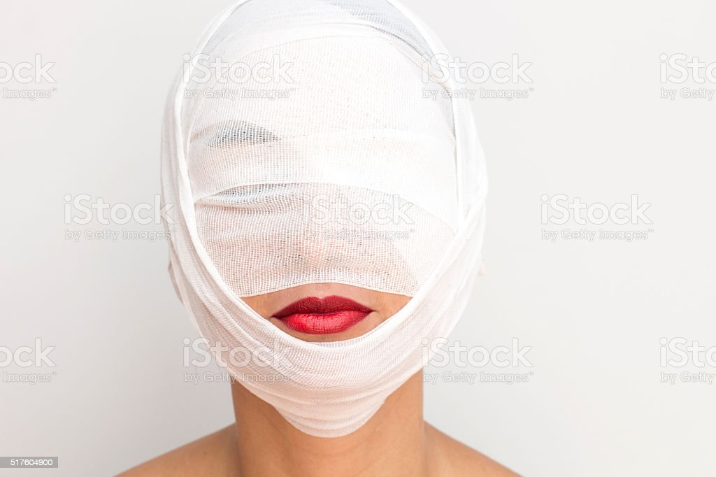 Woman with bandage stock photo