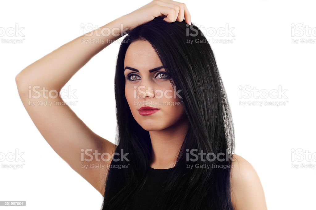 woman with beautiful black hair - posing at studio royalty-free stock photo