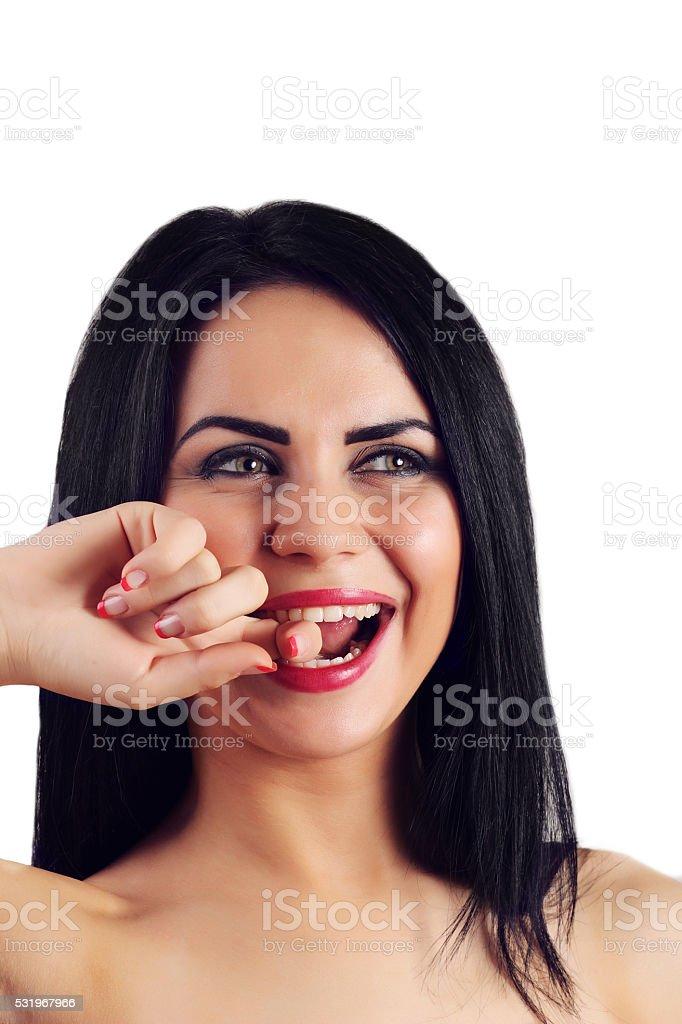 woman with beautiful black hair - posing at studio royalty-free stock photo