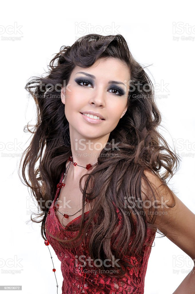 Woman with beautiful brown hairs royalty-free stock photo