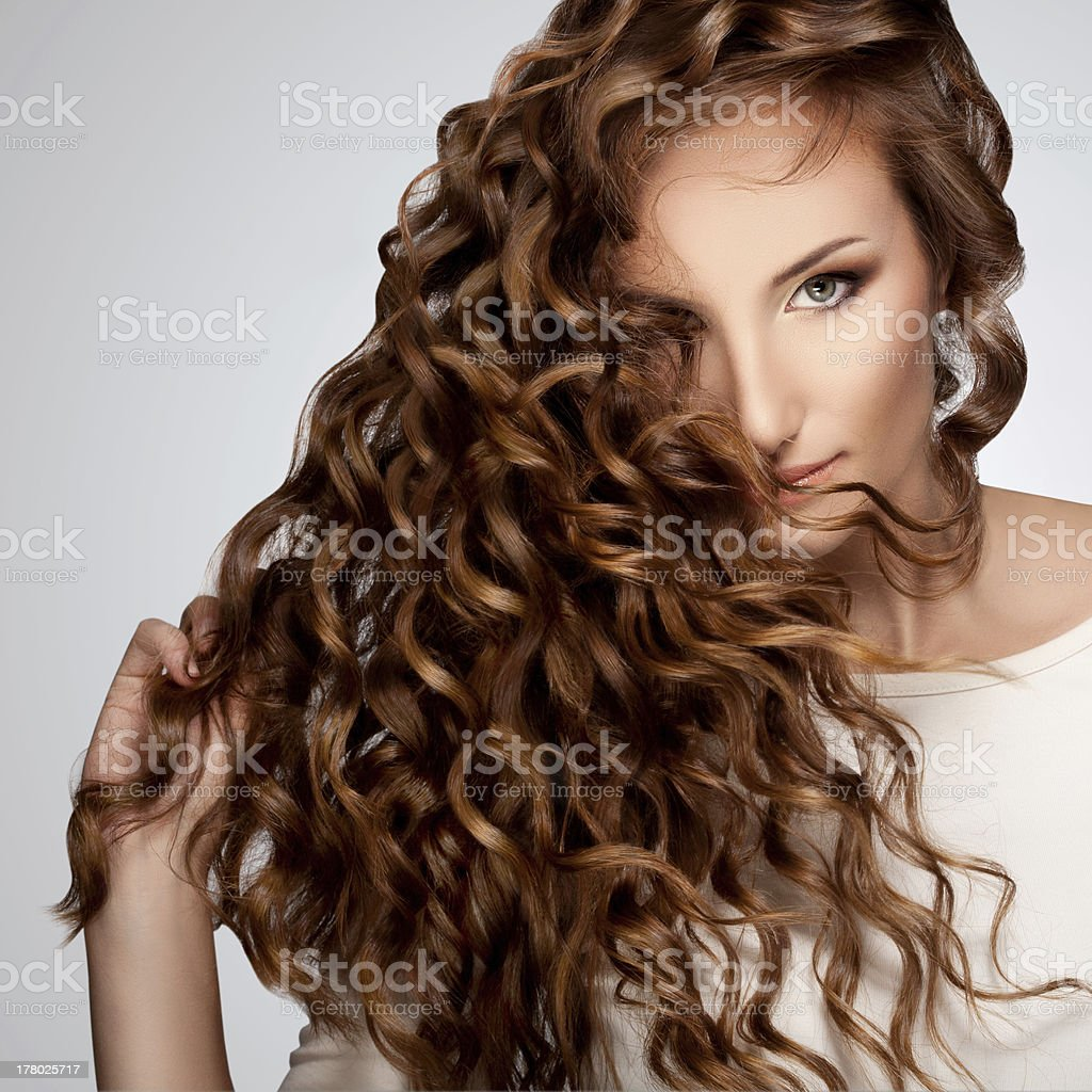 Woman with Beautiful Curly Hair royalty-free stock photo
