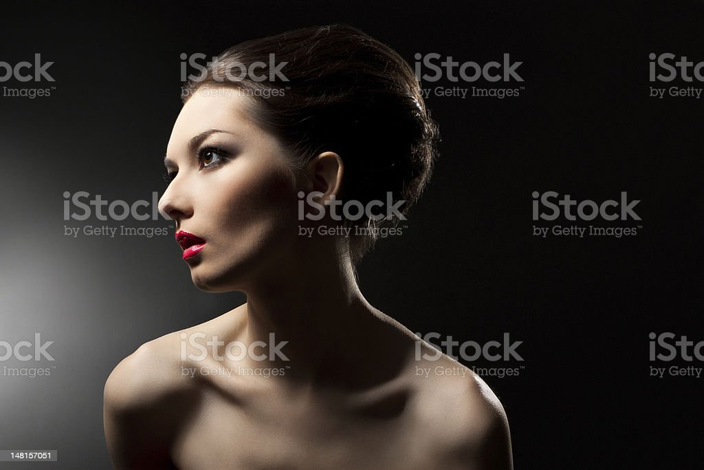 woman with beautiful hair and makeup royalty-free stock photo