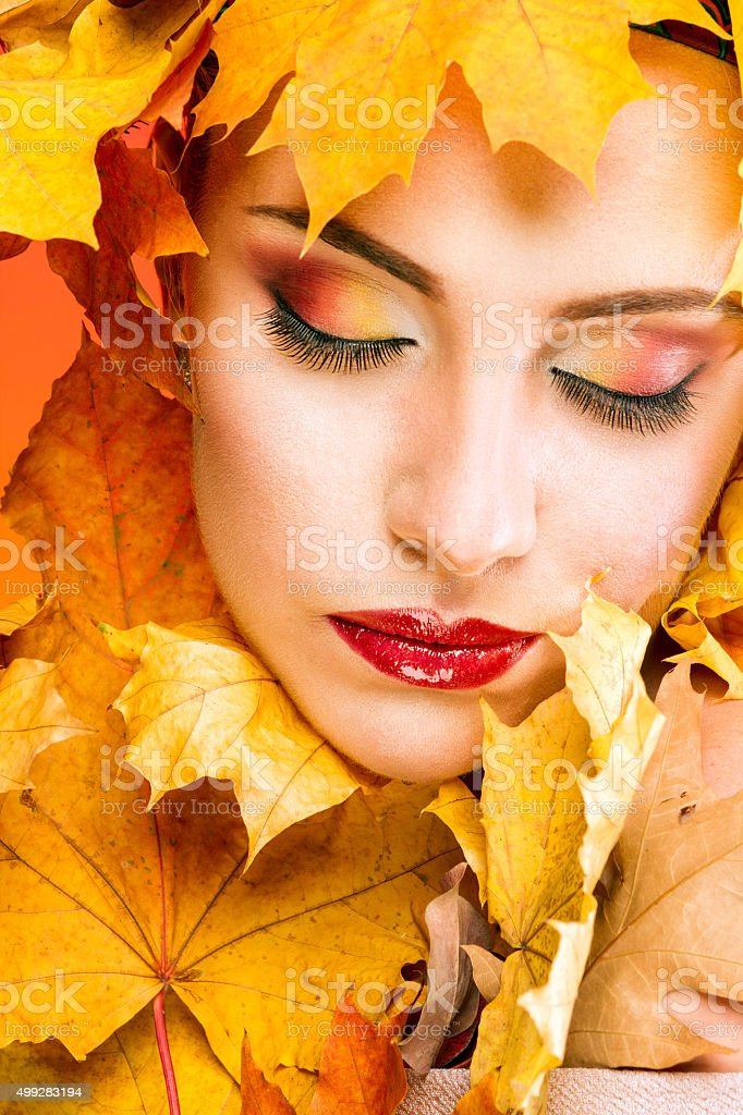 Woman with beautiful make-up in the image of the autumn royalty-free stock photo