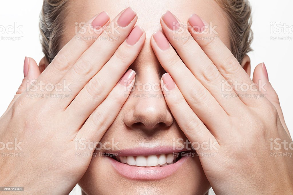 Woman with beautiful natural manicure and perfect clean skin stock photo