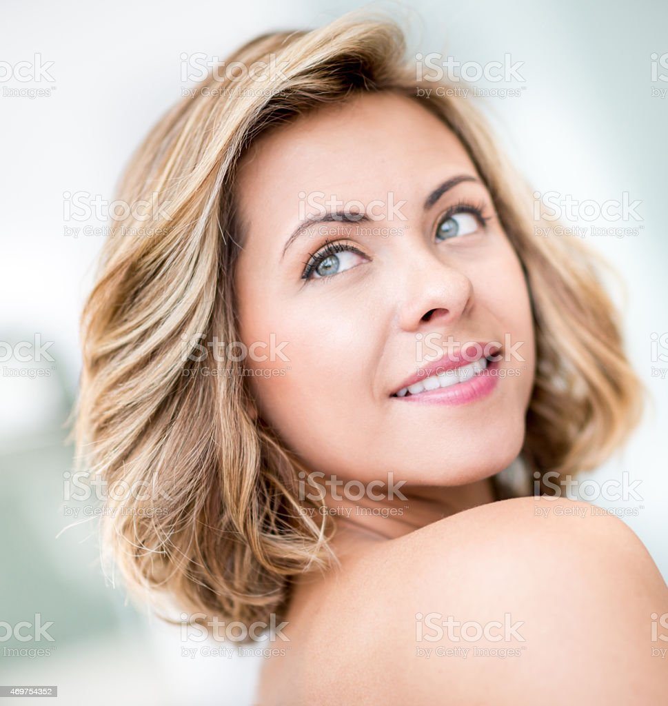 Woman with beautiful short hair stock photo