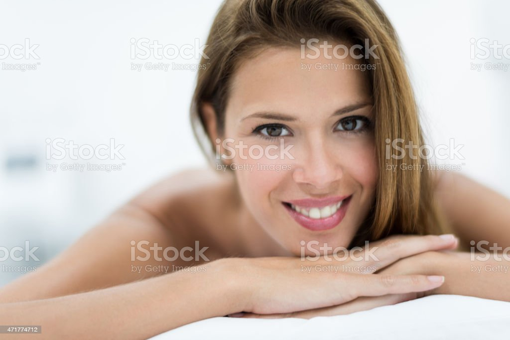 Woman with beautiful skin at the spa stock photo