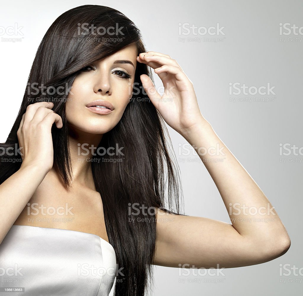 Woman with beauty long straight hair royalty-free stock photo