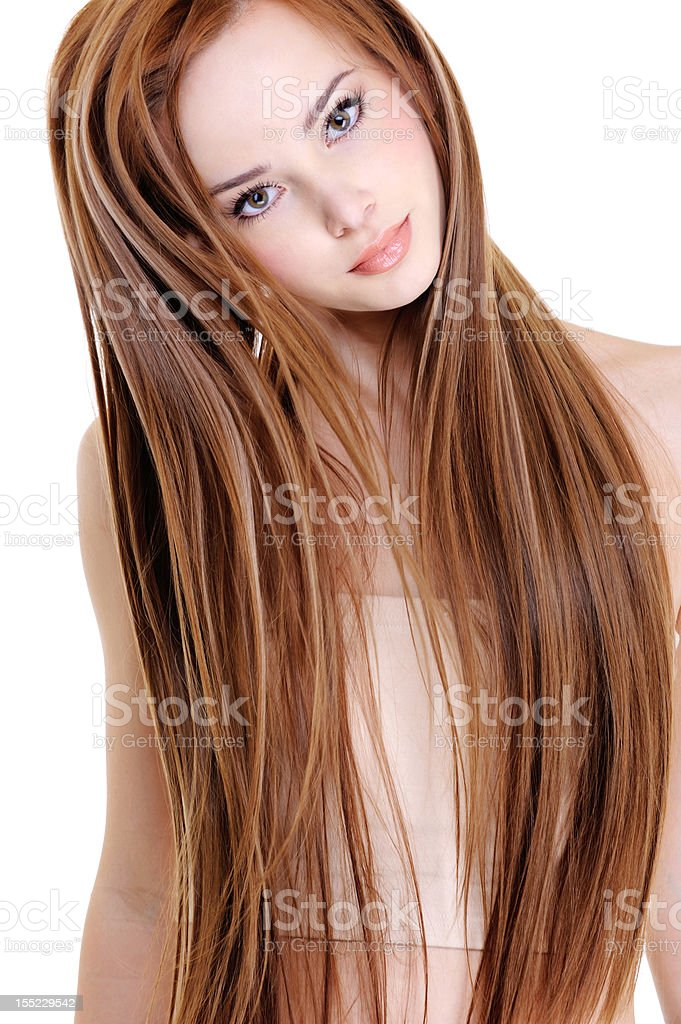 woman with beauty straight hairs royalty-free stock photo