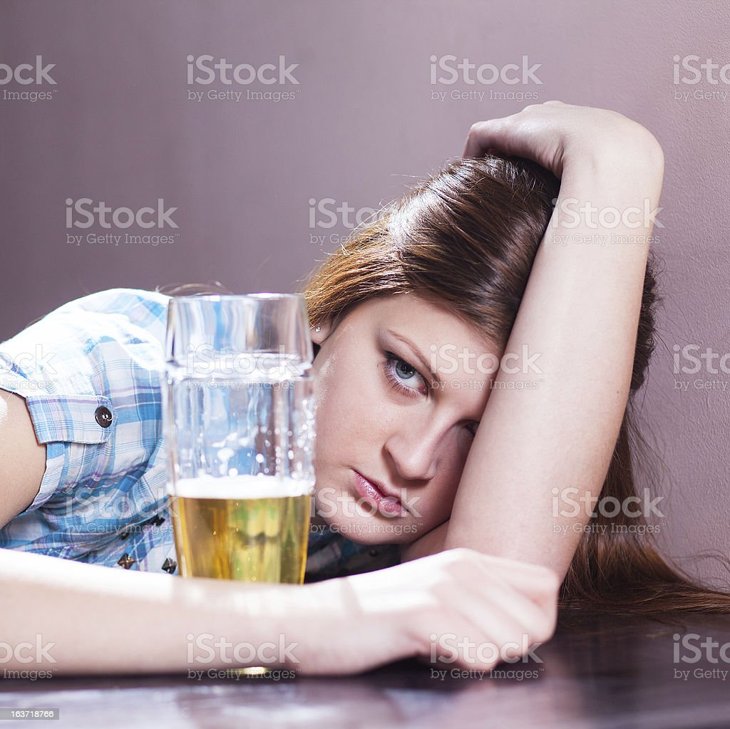 woman with  beer royalty-free stock photo