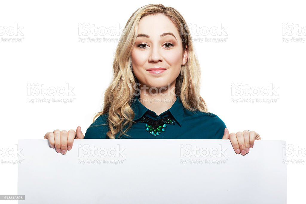 woman with big blank board stock photo