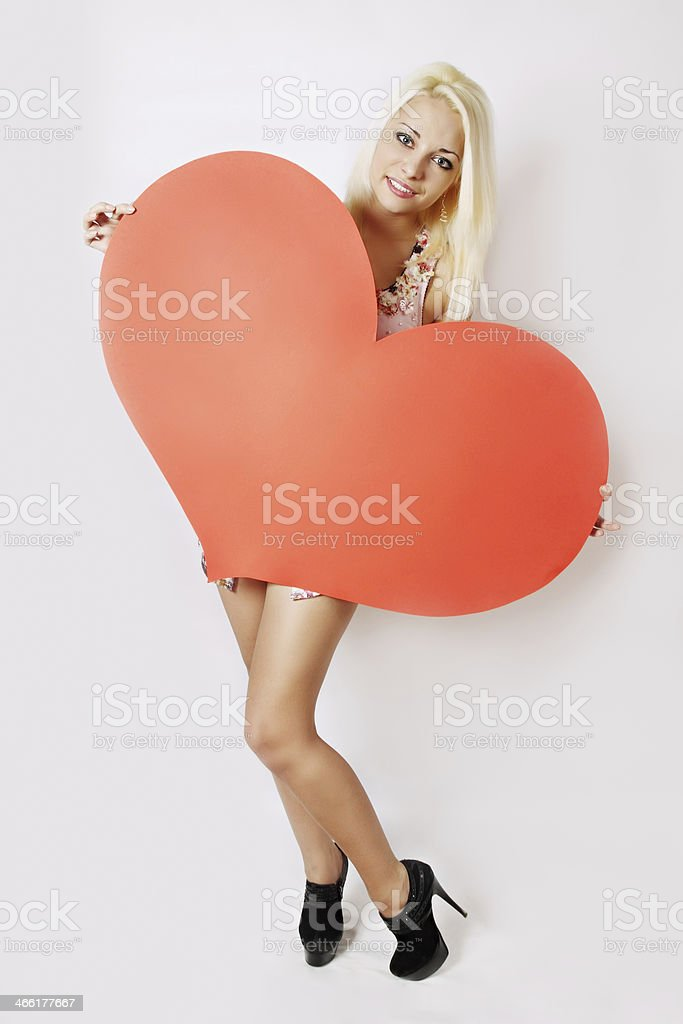 woman with big heart royalty-free stock photo