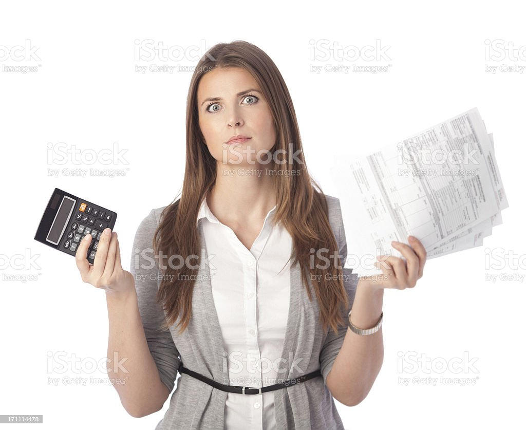 Woman with bills. stock photo