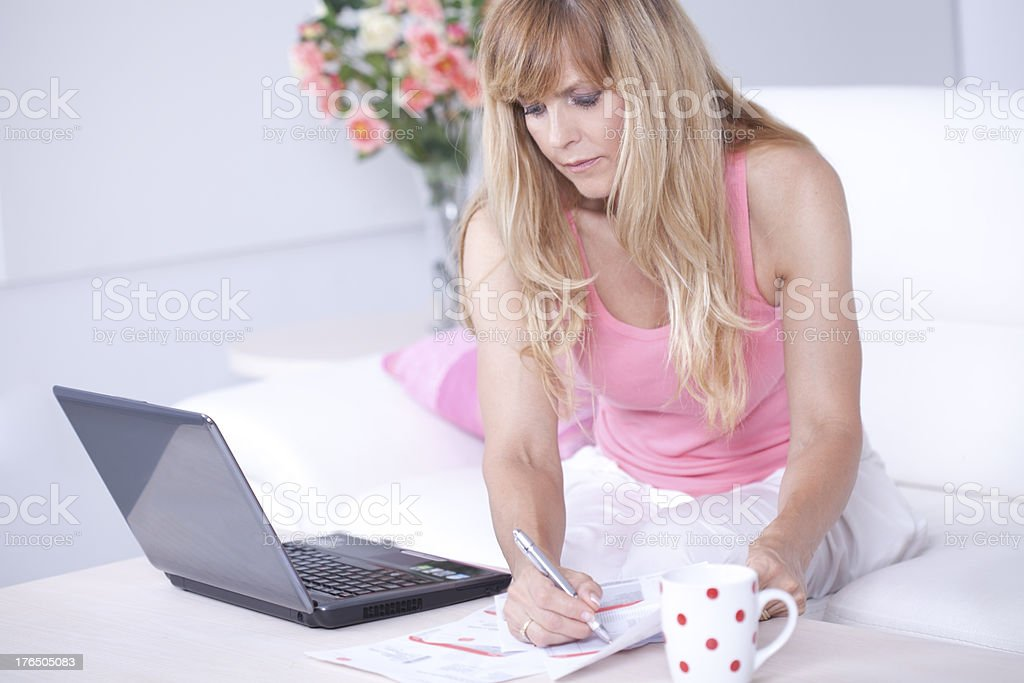 Woman with bills. royalty-free stock photo