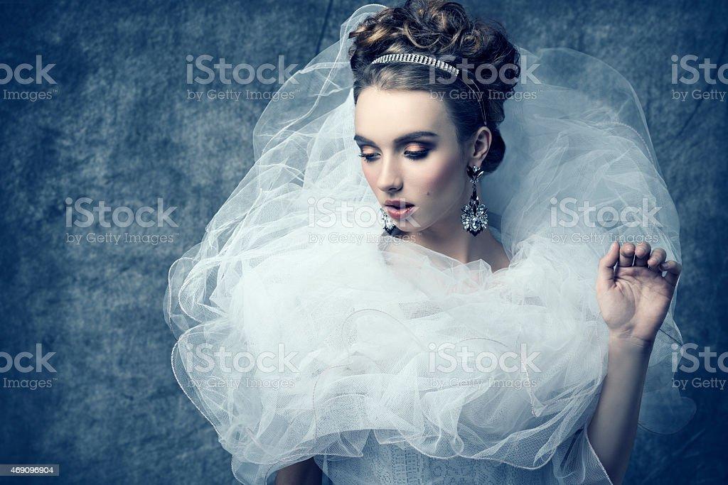 woman with bizarre romantic dress stock photo