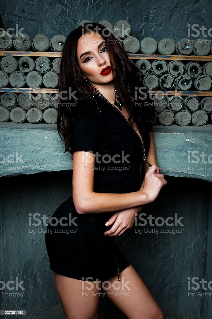 woman with black dress stock photo