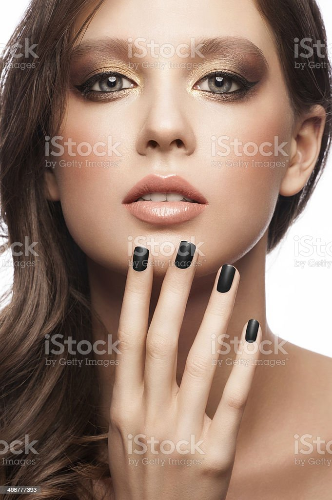 Woman with black manicure stock photo
