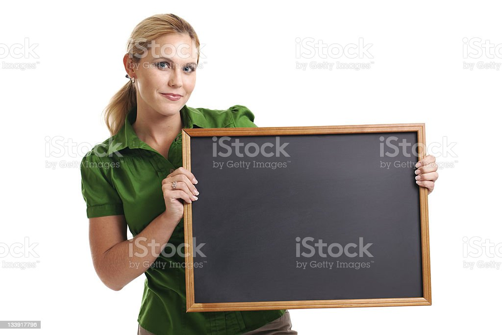 Woman with Blank Chalkboard royalty-free stock photo