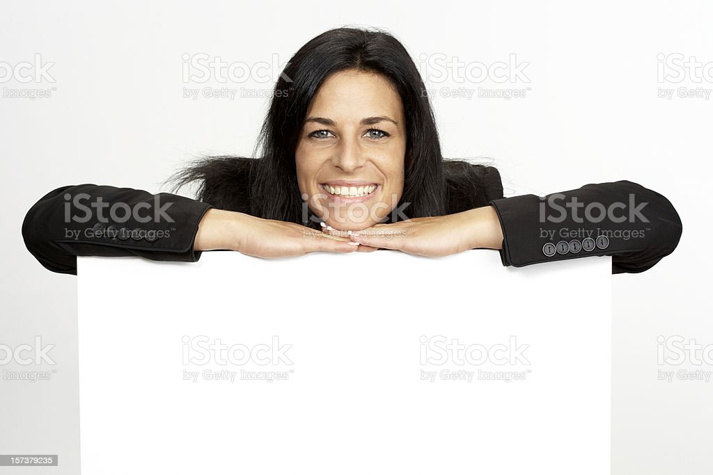 Woman with blank white board royalty-free stock photo