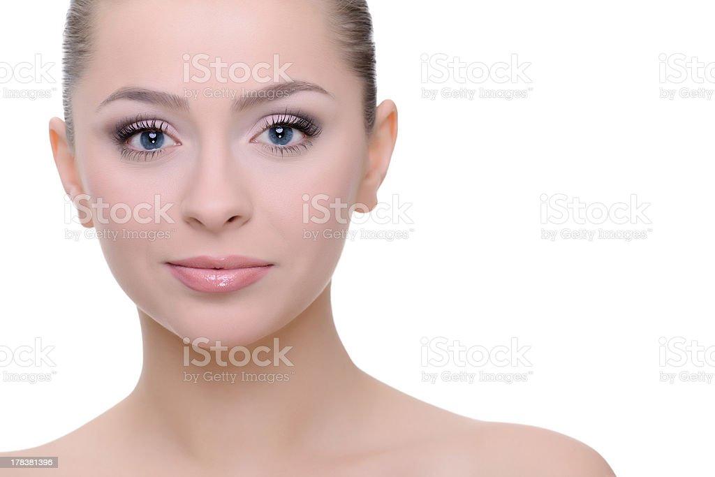 Femme aux yeux bleus photo libre de droits