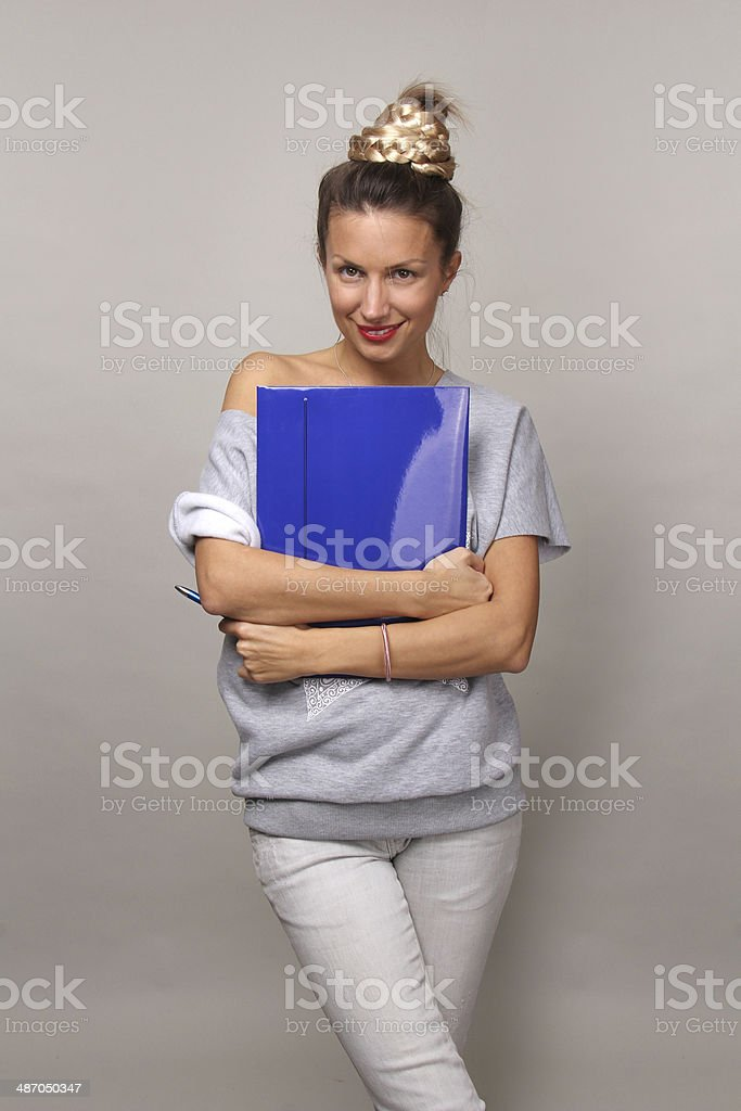 Woman with blue folder royalty-free stock photo
