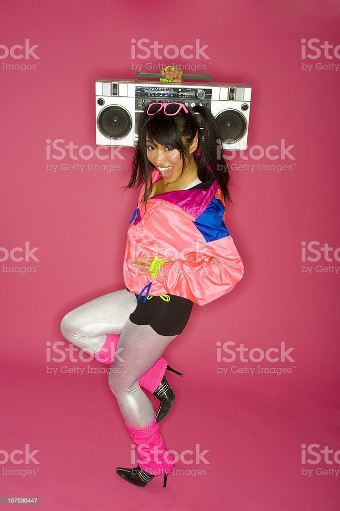 Woman with boom box stock photo