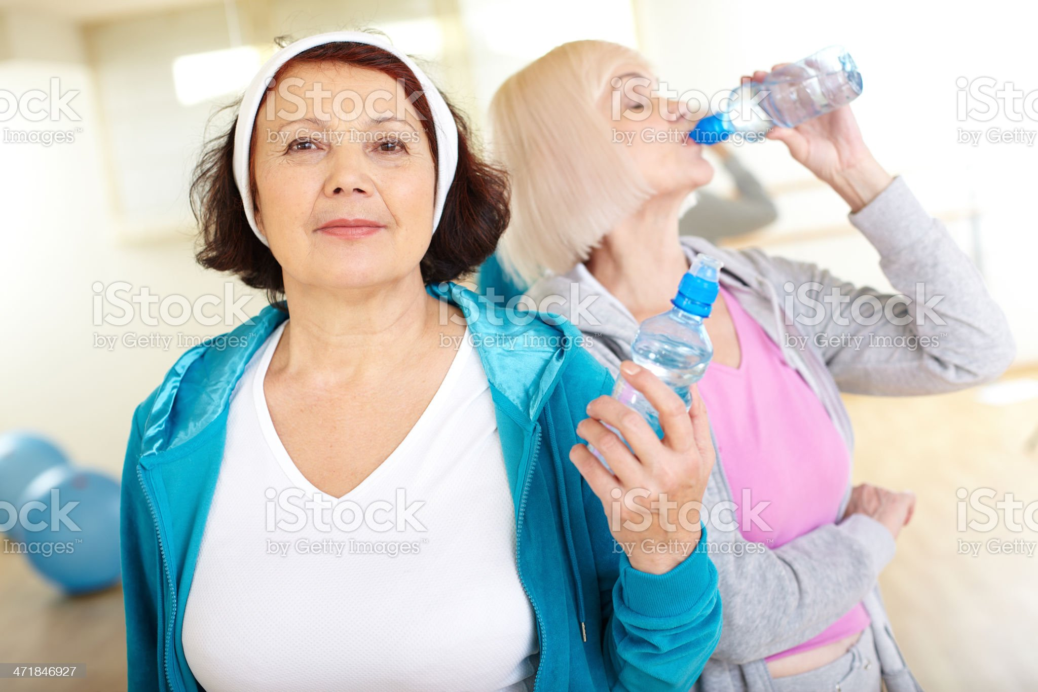 Woman with bottle of water royalty-free stock photo