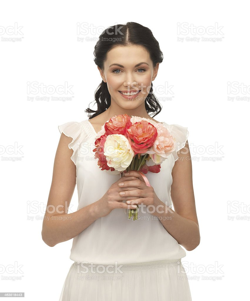 woman with bouquet of flowers stock photo
