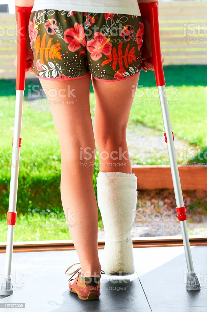 Woman broke her leg or twisted ankle and now is walking on the...