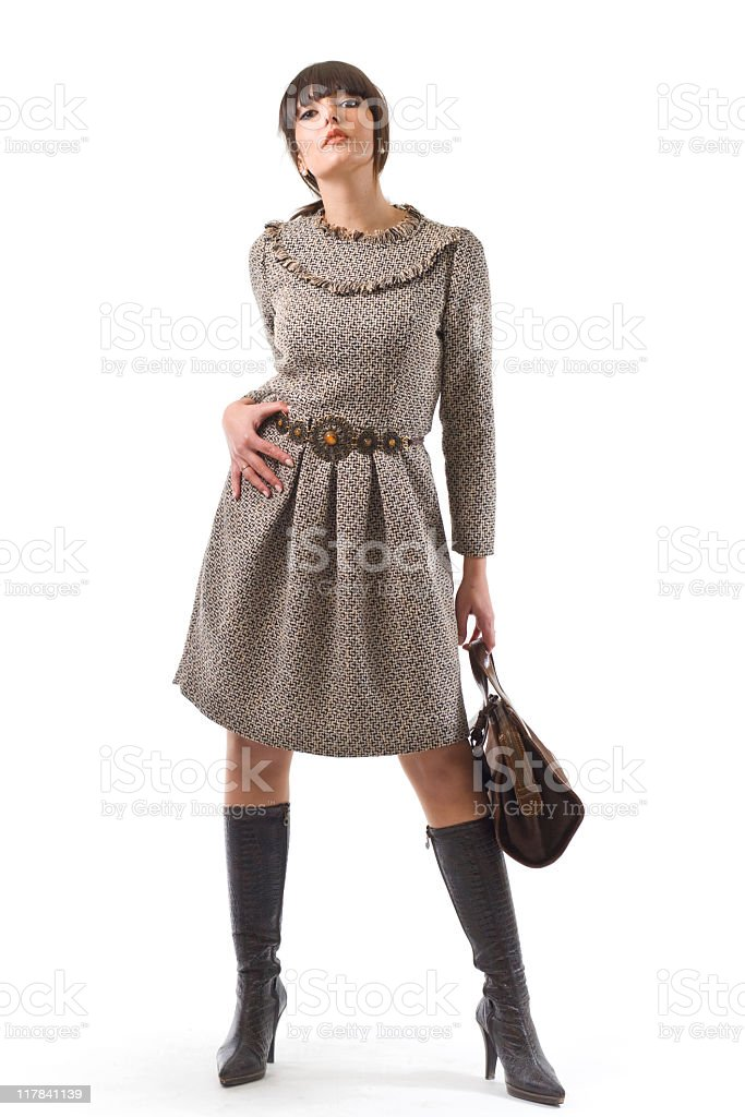 Woman with brown dress. royalty-free stock photo