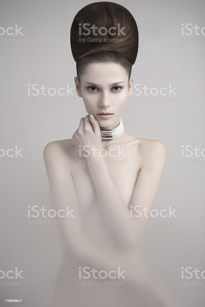 Woman with brown hair and white skin stock photo