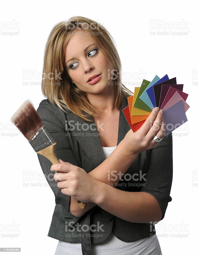 Woman With Brush and Color Swatches royalty-free stock photo