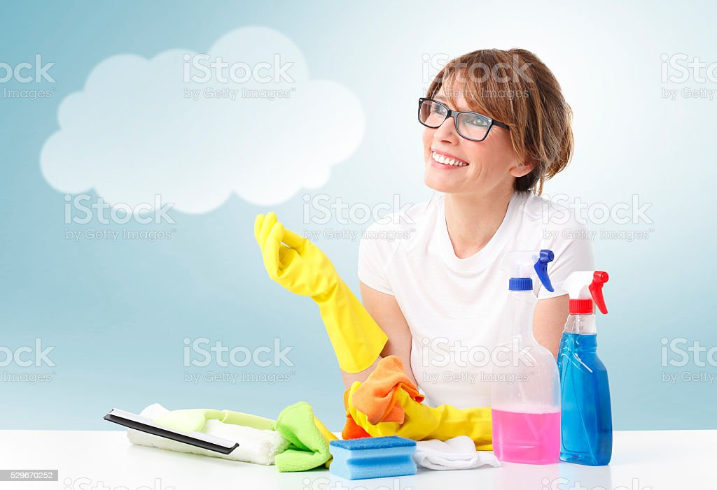 Woman with bubble cloud stock photo
