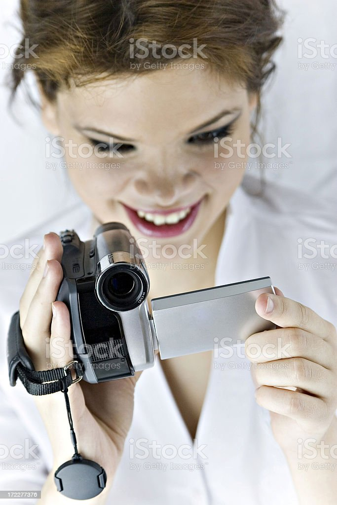 Woman with camcorder royalty-free stock photo