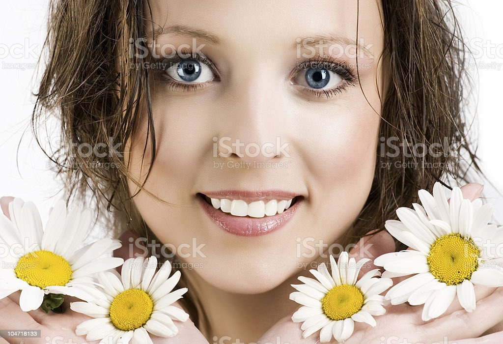 Woman with camomile royalty-free stock photo