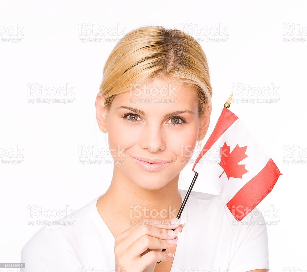 Woman with Canadian flag stock photo