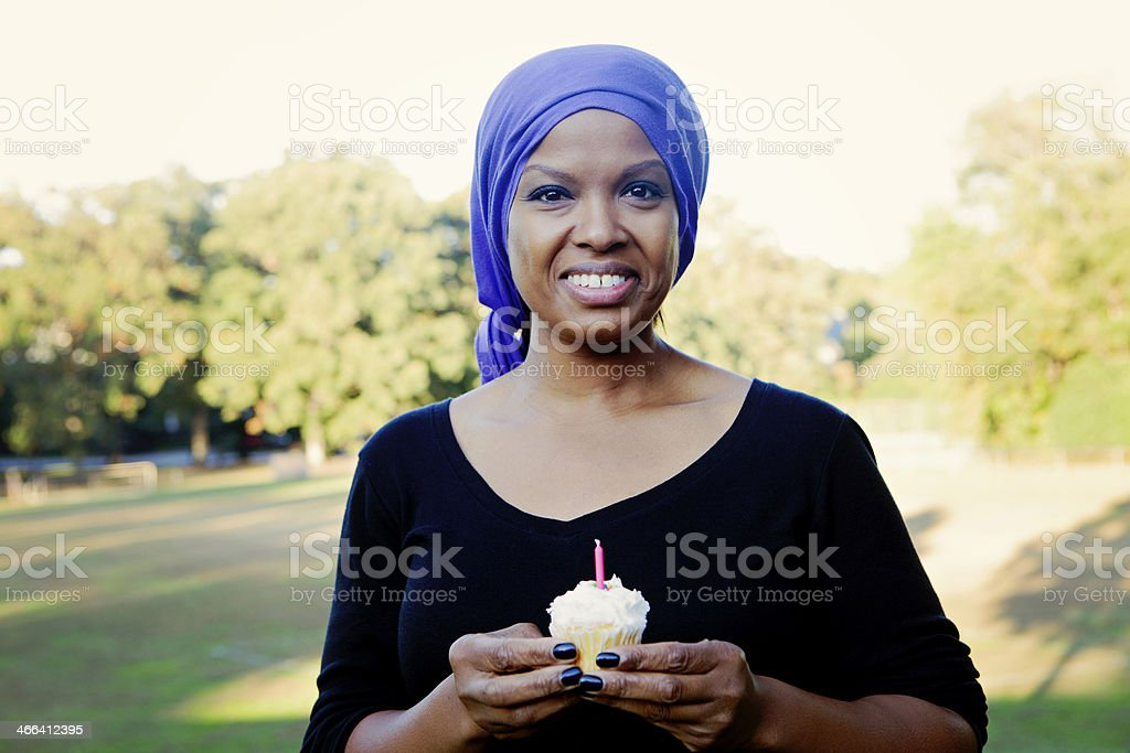 Woman with Cancer Celebrates Birthday stock photo