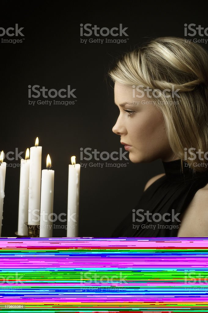 woman with candelabra royalty-free stock photo