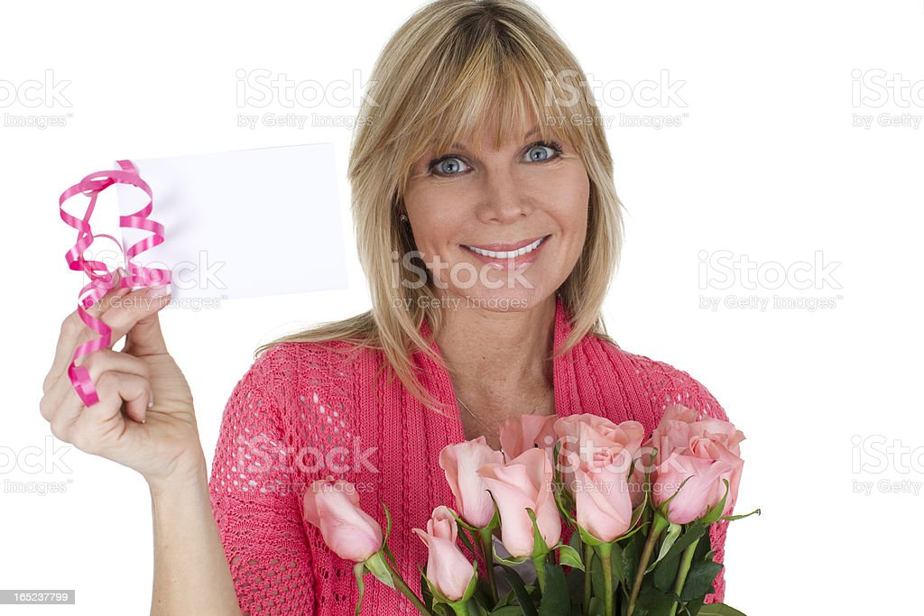 woman with card and flowers royalty-free stock photo