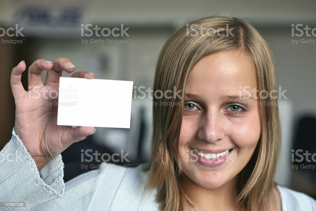 Woman with card stock photo