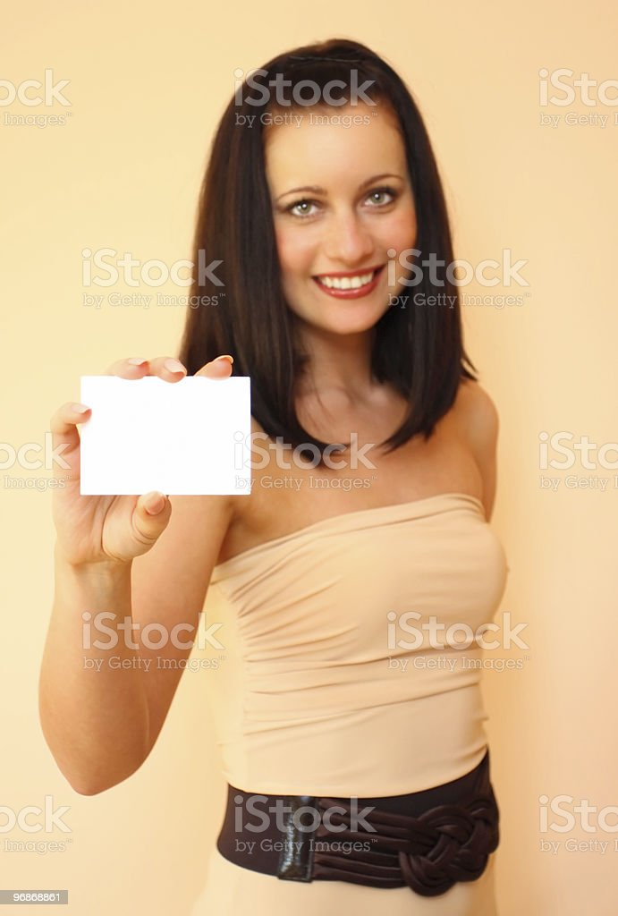Woman with card royalty-free stock photo