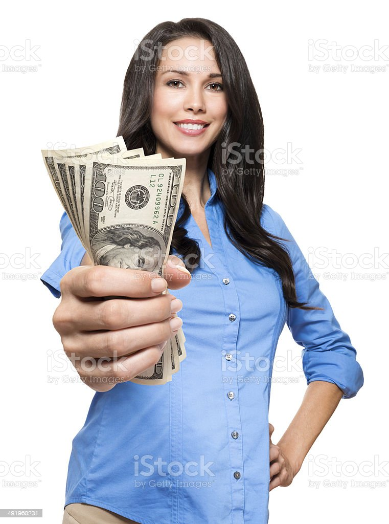 Woman with Cash on White stock photo