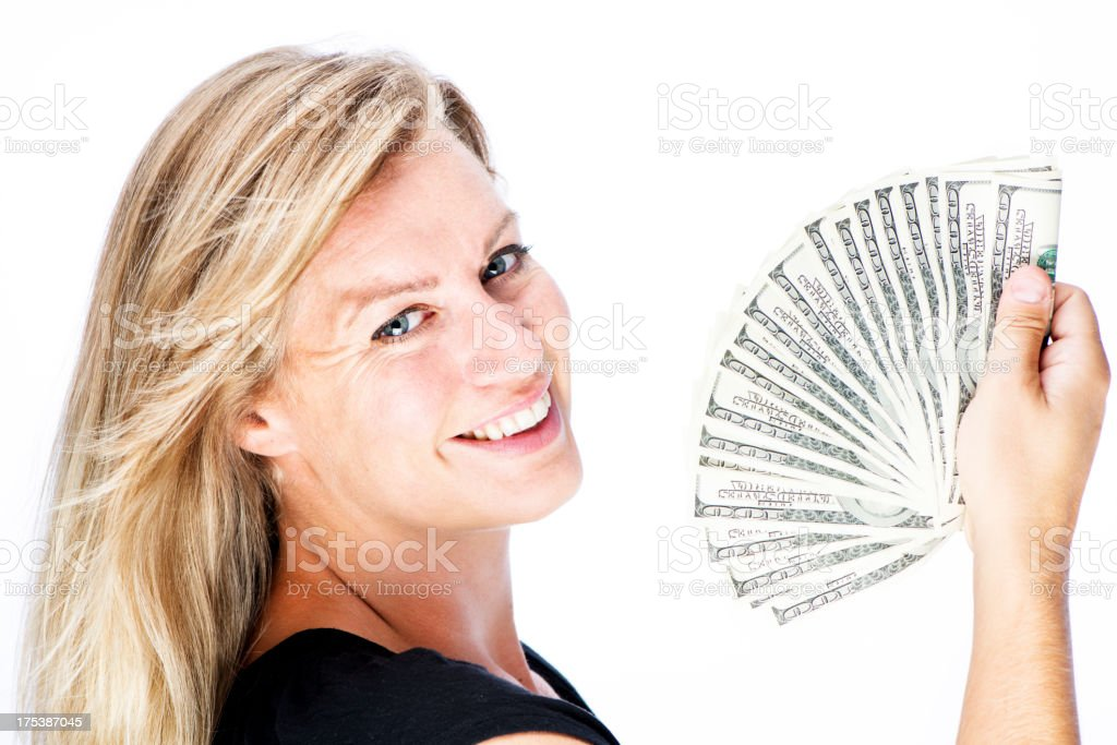Woman with Cash stock photo