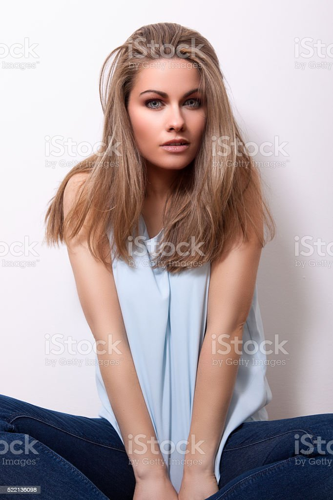 woman with cat eyes stock photo